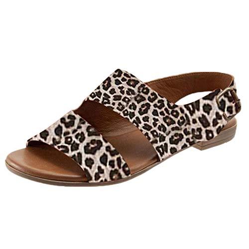 Haalife◕‿Women's Fashion Flat Sandal Double Elastic Band Flat Open Toe Slip-on Summer Slides Beige -