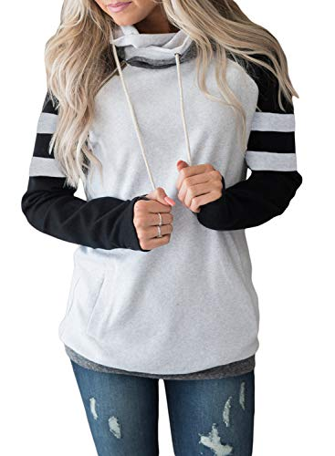 Lovezesent Womens Color Block Striped Sleeve Cowl Neck Drawstring Double Hooded Pullover Sweatshirts with Pocket Black Medium