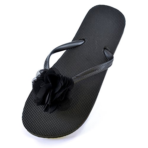 Ladies 5 in Flops Summer Beach Girls Black NEW Flowers Colours Flip Wear Trim r6q1raF