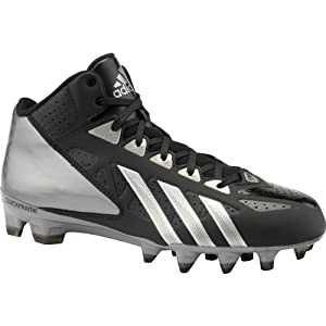 Adidas Men's Filthy Quick Mid Molded Football Cleats , Black|Black|Titanium, Size 11.5