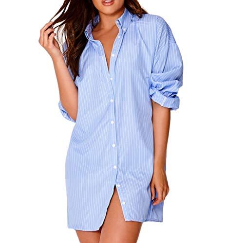 RUEWEY Women Stripes Long Sleeve Oversized Blouse Loose Button Down T Shirt Short Mini Dresses (M, ()