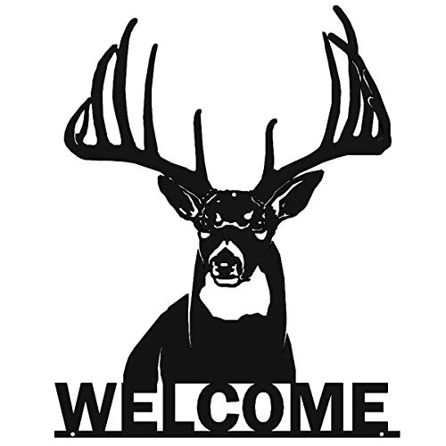 Big Game Steel Welcome Whitetail Deer Buck Metal Wall Art Sign for Home Cabin Decor Laser Cut (Black)