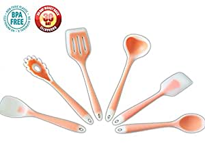 Cooking Utensils Silicone and Kitchen Gadgets, Red Set of 6, Turner and Spoon Spatula Tool 121 Cooking Secrets (Orange)