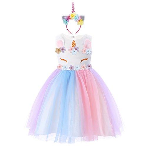 b524b958f OBEEII Niña Vestido Unicornio Disfraz de Cosplay Traje Princesa Tutu Falda  para Fiesta Cumpleaños Desfile Comunión