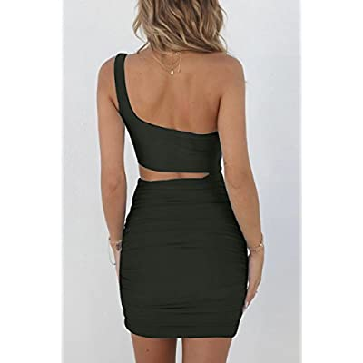 CHYRII Women's Sexy One Shoulder Sleeveless Cutout Ruched Bodycon Mini Club Dress at Women's Clothing store