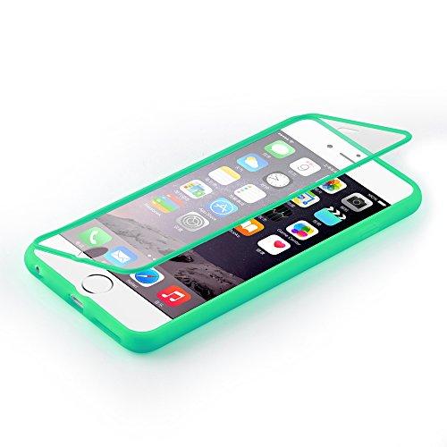 Cadorabo - Cubierta protectora para Apple iPhone 6 - (4.7) de silicona TPU Cuerpo Completo Full Body - Case Cover Funda Carcasa Protección en ROSA VERDE