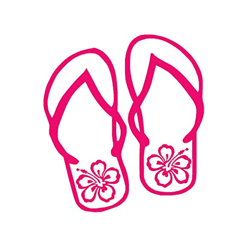 "Tropical Hibiscus Flip Flops - Vinyl Decal Sticker - 3.75"" x 4.15"" - Hot Pink from Southern Decalz"