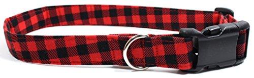 Bonfire Plaid, Red Gingham Designer Dog Collar, Adjustable Handmade Fabric Collars (L)