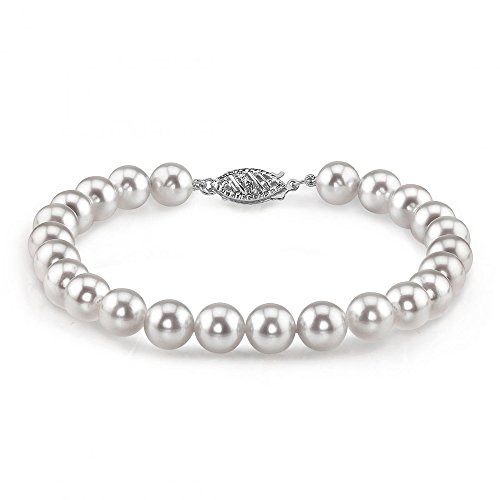THE PEARL SOURCE 14K Gold 6.5-7mm Round White Japanese Akoya Saltwater Cultured Pearl Bracelet for Women
