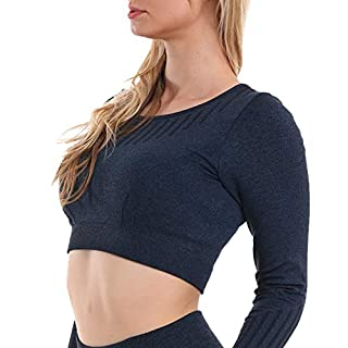 High Waisted Seamless Leggings for Women Tummy Control Workout Gym Butt Lifting Tights Mesh Yoga Pants (Bluetop, Medium)