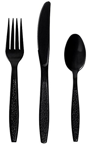 Eskay, Heavy-Weight Plastic Cutlery Set, 200 Forks, 100 Knives, 100 Tea-Spoons, Durable, Disposable, 400 Pieces Total (Black) ()