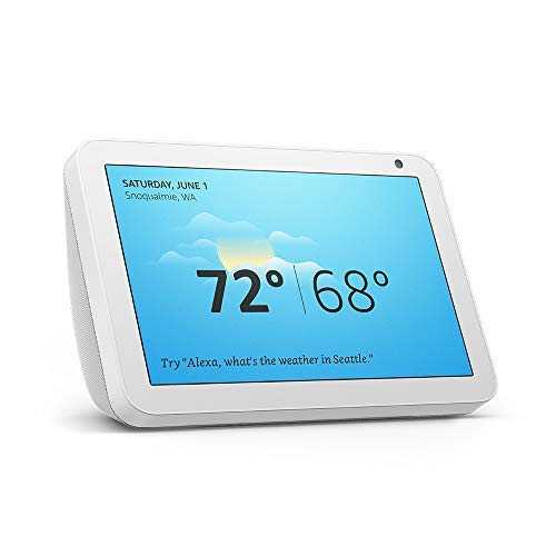 Echo Show 8 (Sandstone) Bundle with Philips Hue White 2-pack A19 Smart Bulbs, Bluetooth & Zigbee compatible (No Hub Required)