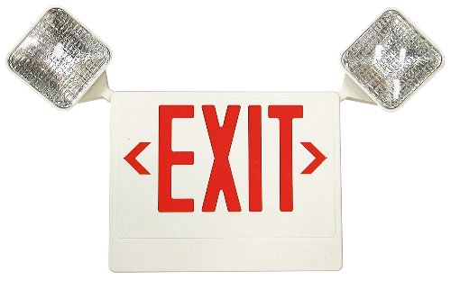 Preferred Industries E1043R LED Red Exit/Emergency Combo with Battery Back-Up Wall Mounted Exit Sign