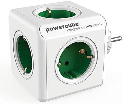 weiss//grün PowerCube Original Mehrfachsteckdose in Würfelform ALLOCACOC