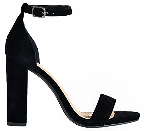 Lami Block Ankle Heel Sandals Toe Women's Open High Strap Chunky Covered Black APxpZ