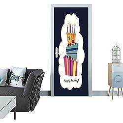 Anmaseven Automatic Door Sticker Front Image of a Birthday Card Door Sticker Mural 27x59(69x150 cm)