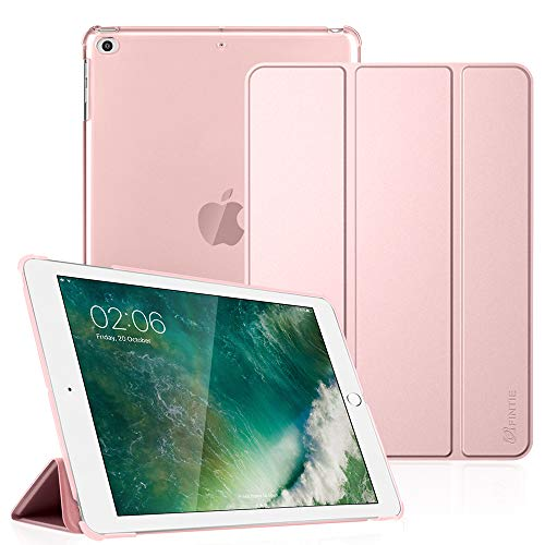 Cover Case Translucent Pink - Fintie iPad 9.7 2018/2017, iPad Air 2, iPad Air Case - Lightweight Slim Shell Cover with Translucent Frosted Back Protector Supports Auto Wake/Sleep for iPad 6th / 5th Gen, iPad Air 1/2, Rose Gold