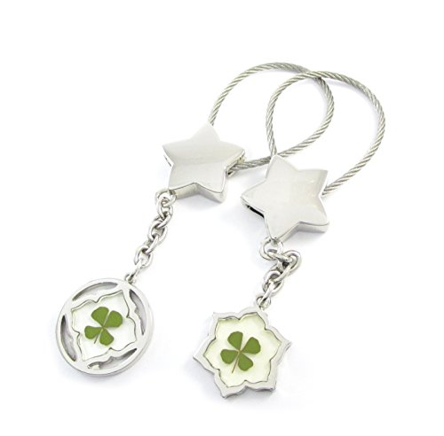 Genuine Four-leaf Lucky Clover Crystal Amber Engravable Key Chain, Valentines Keychains, Quatrefoil and Hexagon, Everything in Great Shapes ! (1. Lucky Stars)