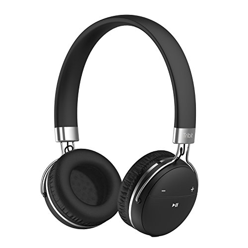 Price comparison product image Bluetooth Headphones,  Tribit XFree Move Stereo Wireless Headphones with Microphone,  Rich Bass,  14 Hours Playtime,  2 Drivers of 40mm in Diameter,  Bluetooth 4.1 CSR Chips,  3.5mm Aux Support,  Black