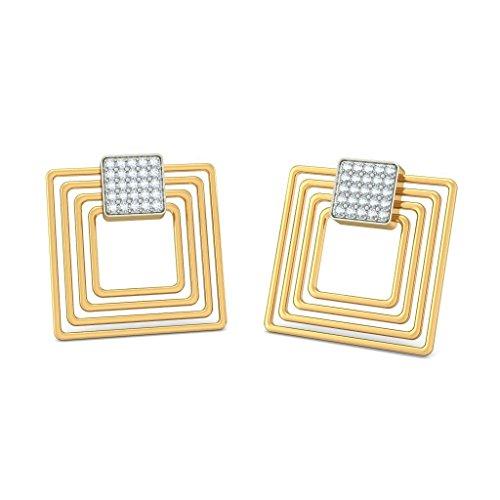 Or jaune 14K 0,4carat au total White-diamond (IJ | SI) Pendants d'oreilles