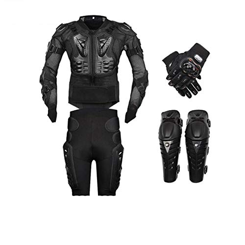 Motorcycle Body Armor Protection Motorcycle Jacket+Shorts Pants+Protective Gear Knee Pads+Gloves Black A4 Set M