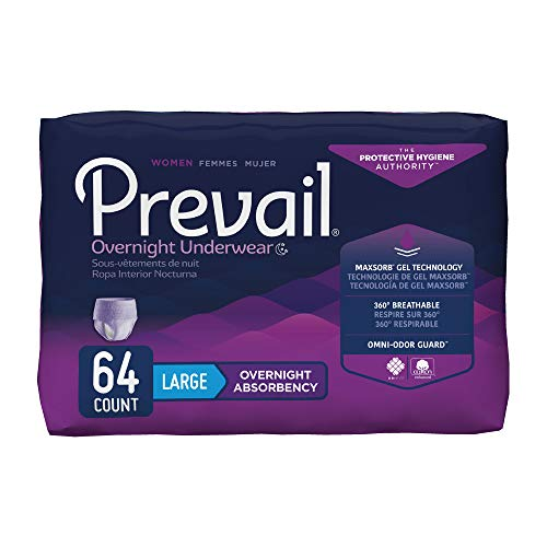Prevail Overnight Absorbency Incontinence Underwear for Women, Large, 64 Count (Packaging May ()