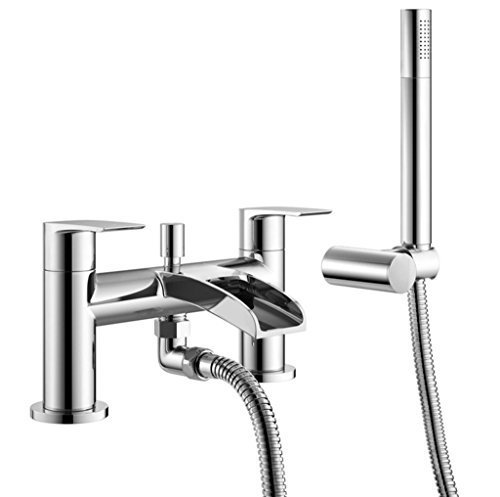 DBS Bath Shower Mixer Tap Open Spout Waterfall Cascade Round Chrome Handheld Shower