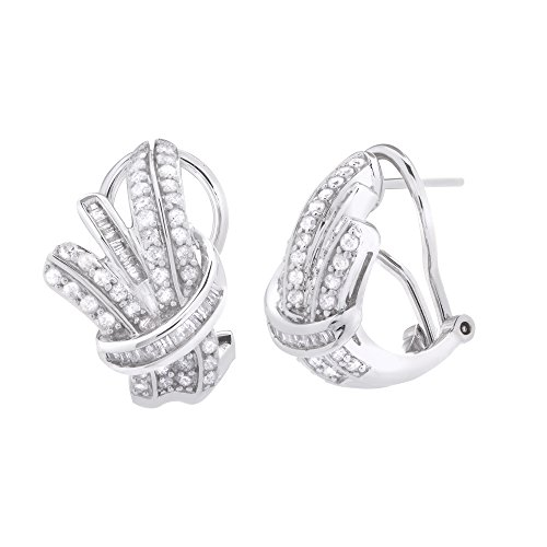 1 CTTW Diamond ( IJ/I2I3) & Sterling Silver French Europe Backs Earrings by Brilliant Designers