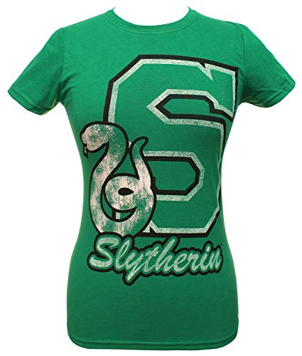 HARRY POTTER Shirt Juniors Collegiate Script Letter and House Animal Logo Tee (Slytherin, Small)