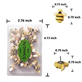 EnewLife 30 Pcs Creative Decorative Cute Bees Thumb Tacks ThumbNails PushPins Push Pins Soft Flat for Photos Wall, Maps, Bulletin Board or Corkboards