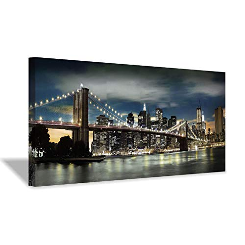 (Brooklyn Bridge Canvas Wall Art: Skylines Reflections in New York Artwork for Office Living Rooms(40