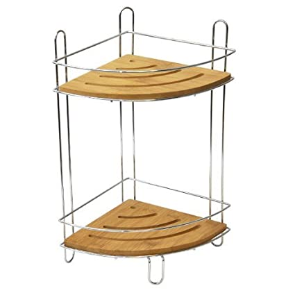 EVIDECO Free Standing Corner Shower Caddy Bamboo, 2 Shelves