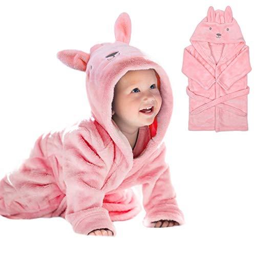 URAQT Baby badjas voor meisjes, 3D roze konijn babyochtendjas, super zachte flanel badhanddoeken, dier babybadjas…