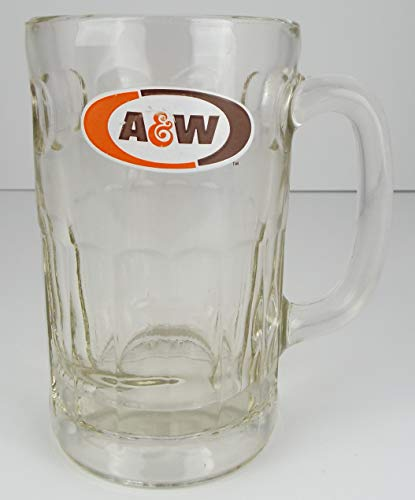 A&W Root Beer Tall Clear Glass Drinking Mug Cup 5 3/4