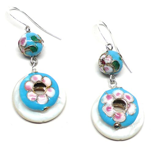 Turquoise Mother Pearl Earrings Of (Turquoise-Color Chinese Cloisonne Enamel Mother-of-Pearl Shell Earrings)