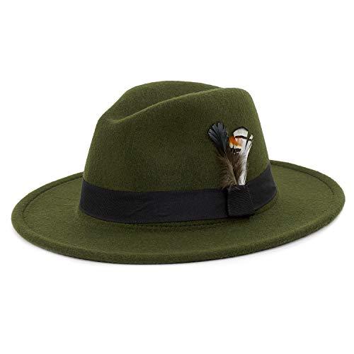 Women Retro Style Wide Brim Panama Hat Belt Buckle Wool Fedora Hat Green - Feather Small Brim Wool