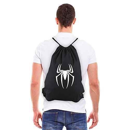Spiderman Symbol Eco-Friendly Reusable Drawstring Bag 6 oz. Cotton Canvas Gym Bag Backpack Sack Pack for Shopping Sport Yoga (Spider Man Drawstring)
