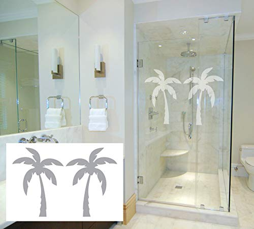 (2 Stylized Palms - Coastal Design Series - Etched Decal - For Shower Doors, Glass Doors and Windows - 18