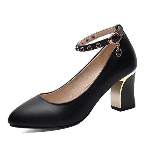 De Travail 40 Printemps Beige Talons Hwf Noir Femmes couleur Noires Chaussures Taille Des Femme Hauts Simples zwnRa6tSq