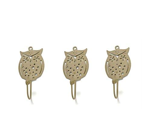 Wise Owl Metal Wall Hook - Light Gold - Set of 3 (Gold 3 Light Wall)