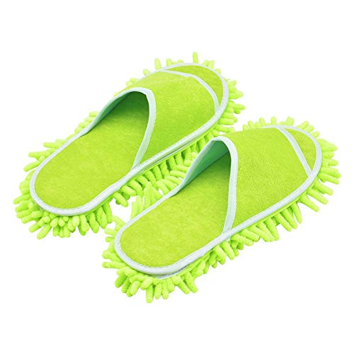 Slipper Genie Microfiber Women's Slippers for Floor Cleaning, Women's House Slippers, Multi-Surface Cleaner, Dust Cleaning Tool (Green)
