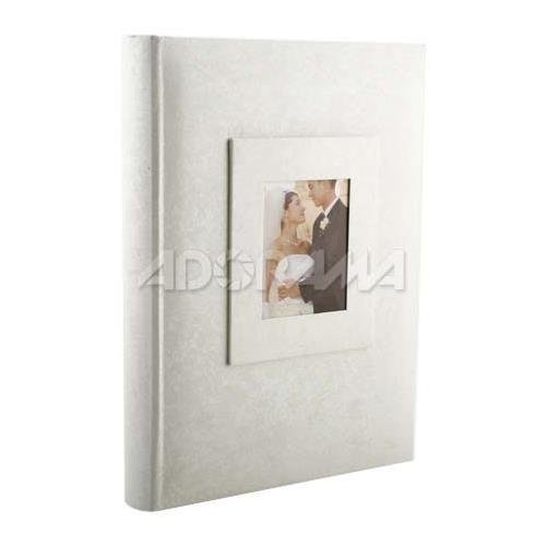 Kleer Vu Photo Memo Album With Window Wedding Moire Collection White Holds 300 4x6 Photos 3 Per Page