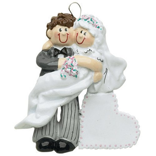 Personalized Bride Groom Christmas Ornament for Tree 2018 - Just Married Brunette Newlywed Couple Carry White Heart - Brown Hair 1st Ceremony Romantic Wedding Love First I do - Free Customization -