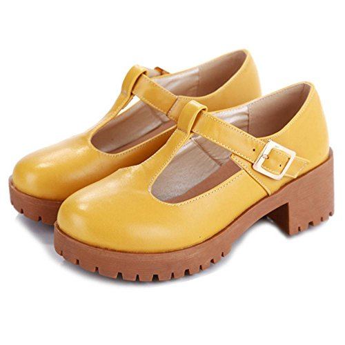 COOLCEPT Women Fashion Chunky Heel Court Shoes Yellow hpD7c