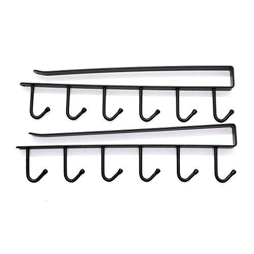 IDS Multi-function Coffee Mug Hooks Metal Hanger Rack Hanging Storage Shelf for Cabinet Wardrobe (2 Pack) by IDS