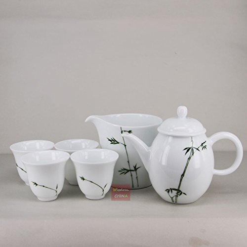 Chinese Jingdezhen Hand painted Bamboo Famille-rose Porcelain Tea Set of ()