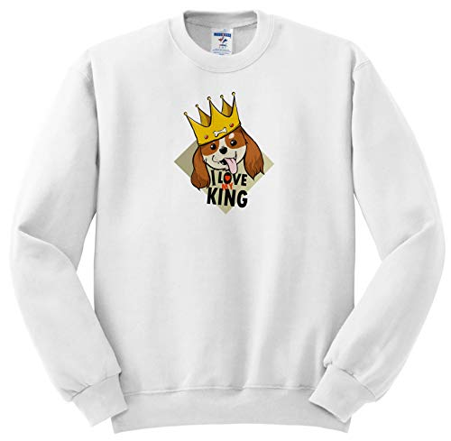 Sven Herkenrath Dogs - Cavalier King Charles Spaniel Dog with Crown and Quotes - Sweatshirts - Youth Sweatshirt Large(14-16) ()