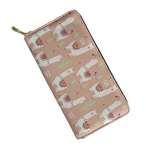 SANNOVO Women RFID BLOCKING Wallet White Alpaca Ladies Zip Around Clutch Purse with Wristlet Slim Wallet Multi-pocket