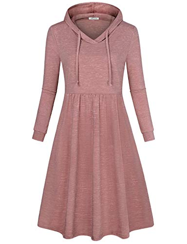 SeSe Code Fall Dresses, Women Hoodie Dress Pullover Long Sleeve Elastic Waist Cute Midi Shirred Front Fashionable Apparel Clothing Knee Length Baggy Ladies Dressy Tops Rust (Shirred Waist Knit Dress)