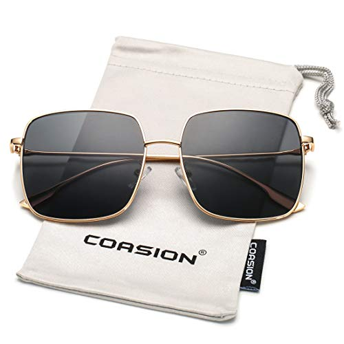 Womens Square Sunglasses - COASION Oversized Fashion Square Sunglasses for Women Designer Metal UV400 Sun Glasses (Gold Frame/Grey Lens)